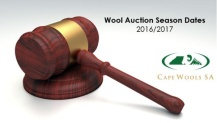 Wool Season Auction dates for 2016-17 wool season